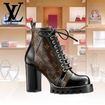 Louis Vuitton Monogram Lace-up Leather Block Heels Shoes