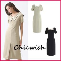 Chicwish Tight Plain Medium Short Sleeves Elegant Style Dresses