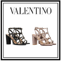 VALENTINO Open Toe Studded Plain Leather Block Heels Heeled Sandals