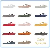 TKEES Open Toe Rubber Sole Casual Style Leather Flip Flops