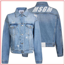 MSGM Casual Style Denim Studded Plain Medium Jackets