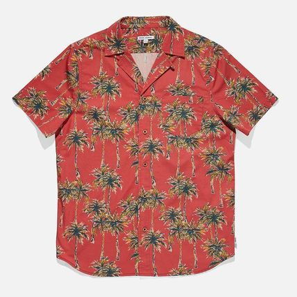 Flower Patterns Street Style Cotton Short Sleeves Surf Style