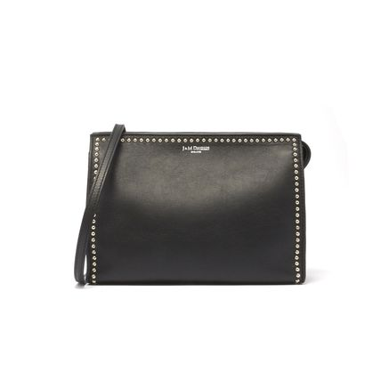 Casual Style Studded Leather Crossbody Logo Shoulder Bags