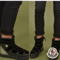 MONCLER Round Toe Rubber Sole Casual Style Plain Leather
