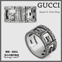 GUCCI Flower Patterns Street Style Silver Rings