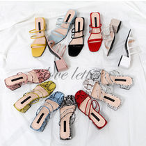 Open Toe Casual Style Other Animal Patterns Chunky Heels