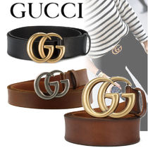 GUCCI Casual Style Unisex Plain Leather Belts