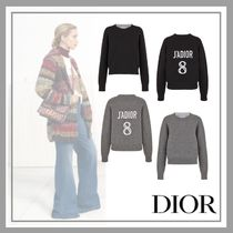 Christian Dior Crew Neck Casual Style Cashmere Long Sleeves Cashmere