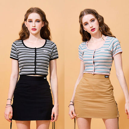 Short Stripes Casual Style Street Style Cotton Short Sleeves