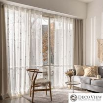 DECO VIEW Flower Patterns Plain Curtains