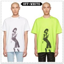 Off-White Crew Neck Pullovers Unisex Cotton Short Sleeves