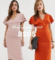 ASOS V-Neck Plain Medium Elegant Style Dresses