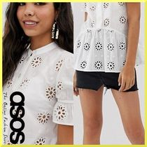 ASOS Flower Patterns Casual Style Peplum Puffed Sleeves Cotton