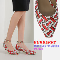 Burberry Monogram Open Toe Peep Toe Pumps & Mules