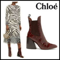 Chloe Other Animal Patterns Block Heels Chelsea Boots