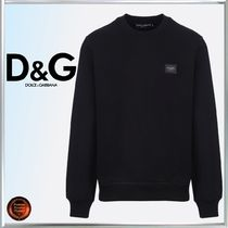 Dolce & Gabbana Crew Neck Long Sleeves Plain Cotton Sweatshirts
