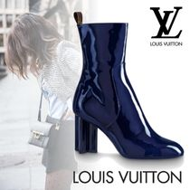 Louis Vuitton Monogram Plain Toe Plain Leather Block Heels Elegant Style