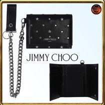 Jimmy Choo Star Calfskin Studded Chain Folding Wallets