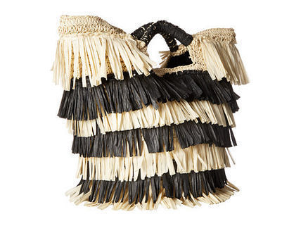 Stripes A4 Fringes Straw Bags