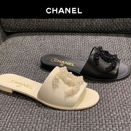 CHANEL More Sandals Open Toe Plain Leather With Jewels Elegant Style Slippers