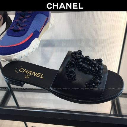 CHANEL More Sandals Open Toe Plain Leather With Jewels Elegant Style Slippers 4
