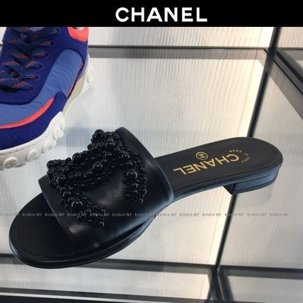 CHANEL More Sandals Open Toe Plain Leather With Jewels Elegant Style Slippers 5
