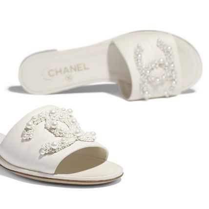 CHANEL More Sandals Open Toe Plain Leather With Jewels Elegant Style Slippers 10