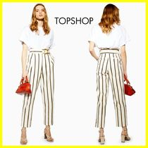 TOPSHOP Stripes Casual Style Cropped & Capris Pants
