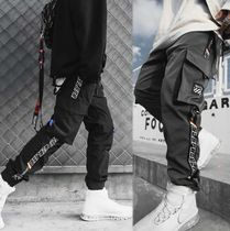 Stripes Street Style Oversized Cargo Pants