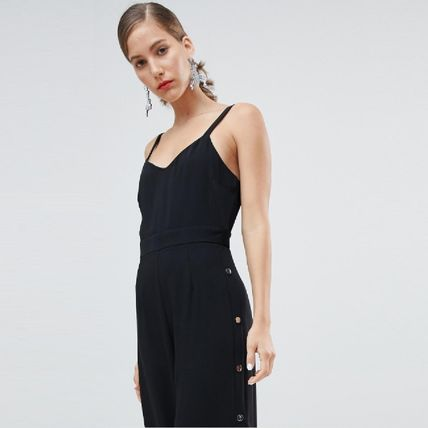 Dungarees Casual Style Sleeveless Plain Dresses