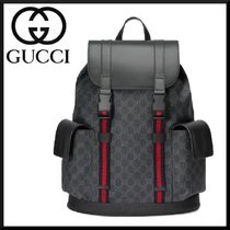 GUCCI Stripes Canvas Blended Fabrics Street Style A4 Backpacks