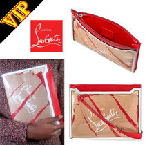 Christian Louboutin Unisex Blended Fabrics 2WAY Bi-color Leather Clutches