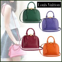 Louis Vuitton ALMA Ostrich Leather Blended Fabrics 2WAY Plain Elegant Style