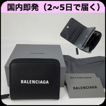 BALENCIAGA EVERYDAY TOTE Unisex Plain Leather Folding Wallets