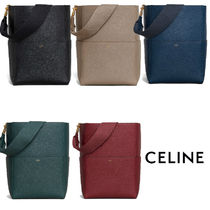 CELINE Sangle Casual Style A4 Plain Totes