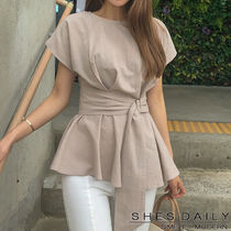 Casual Style Peplum Plain Medium Short Sleeves