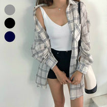 Other Check Patterns Long Sleeves Cotton Long Oversized