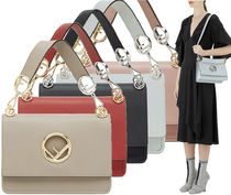 FENDI KAN I Plain Leather Elegant Style Handbags