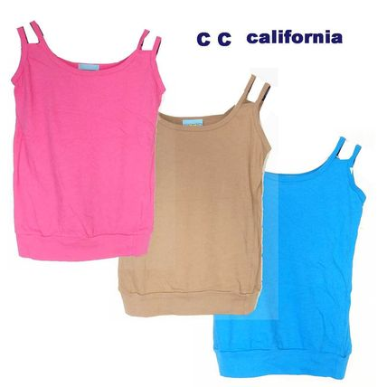 Short Sleeveless U-Neck Plain Cotton Tanks & Camisoles