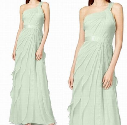 A-line Chiffon Sleeveless Plain Long Dresses