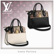 Louis Vuitton CITY STEAMER Blended Fabrics Studded 3WAY Leather Python Elegant Style