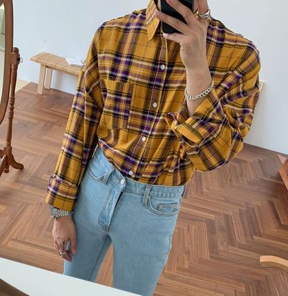 ASCLO Shirts Other Plaid Patterns Street Style Long Sleeves Cotton 7