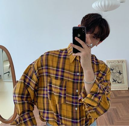 ASCLO Shirts Other Plaid Patterns Street Style Long Sleeves Cotton 8