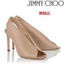 Jimmy Choo Open Toe Plain Leather Peep Toe Pumps & Mules