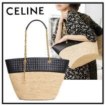 CELINE C Blended Fabrics A4 Plain Leather Straw Bags