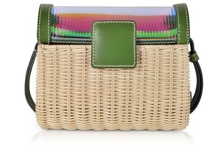Plain Leather Straw Bags