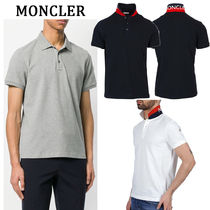 MONCLER Plain Cotton Short Sleeves Logos on the Sleeves Polos