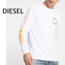 DIESEL Crew Neck Unisex Street Style Long Sleeves Plain Cotton