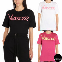 VERSACE Crew Neck Street Style Cotton Short Sleeves T-Shirts