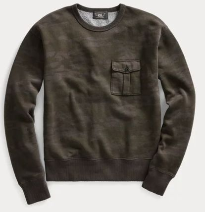 RRL Crew Neck Camouflage Street Style Long Sleeves Cotton